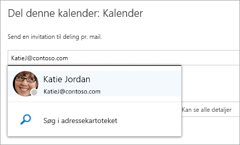 """Et skærmbillede af dialogboksen """"Del denne kalender""""."""