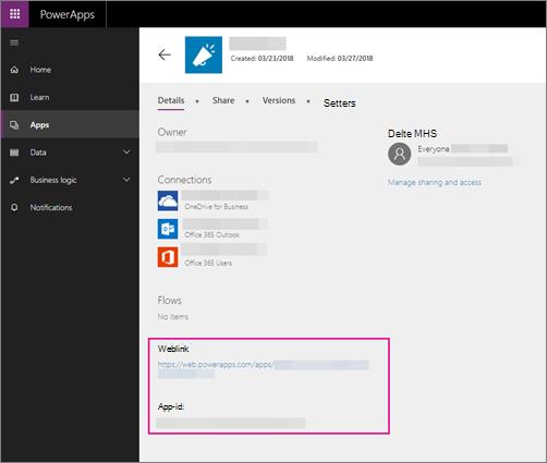 Power-Apps weblink og -ID