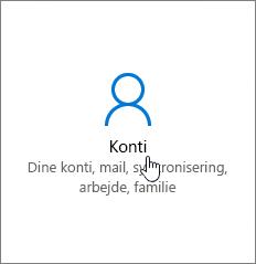 Gå til Konti i Windows-indstillinger.