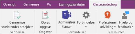 Fanen Klassenotesbog på OneNote-båndet viser knappen Administrer klasser i Teams.