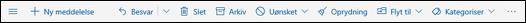 Outlook.com-meddelelsesværktøjslinje
