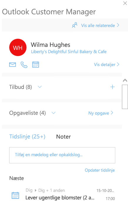 Velkomstskærmbillede for Outlook Customer Manager