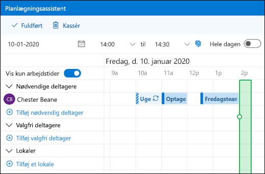 Planlægningsassistent, der viser kombinerede kalenderbegivenheder