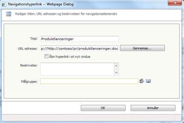 Dialogboksen Navigationslink