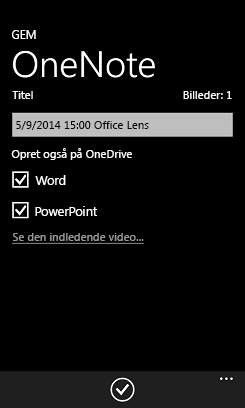 Send billeder til Word og PowerPoint på OneDrive