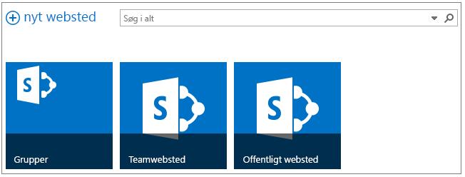 Eksempel på webstedsside med 3 fremhævede websteder