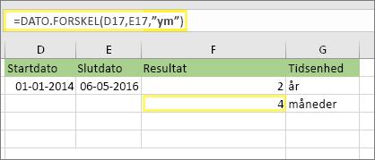 """=DATEDIF(D17,E17,""""ym"""") og resultat: 4"""