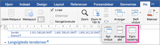 Klik på Opdel for at inddele Word-vinduet i to visninger af det samme dokument.