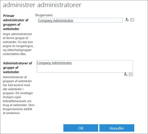 Dialogboksen Webstedsadministrator