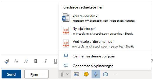 Vedhæfte filer, der viser foreslåede vedhæftede filer