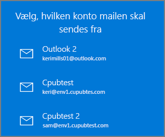 Vælg en konto for at sende en mail fra
