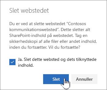 Hvis du er sikker på, at du vil slette webstedet, skal du klikke på Slet