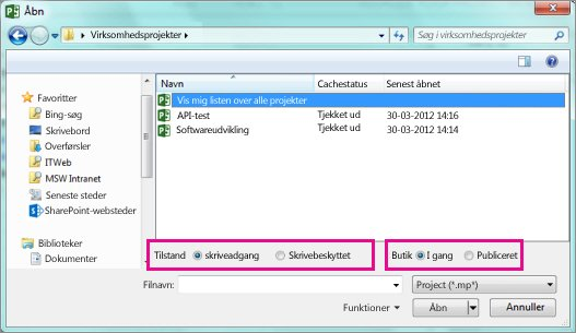 Dialogboksen Åbn, der viser Project Web App-filer