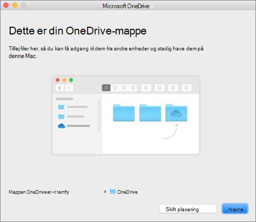 Skærmbillede af siden Dette er din OneDrive-mappe i guiden Velkommen til OneDrive på en Mac