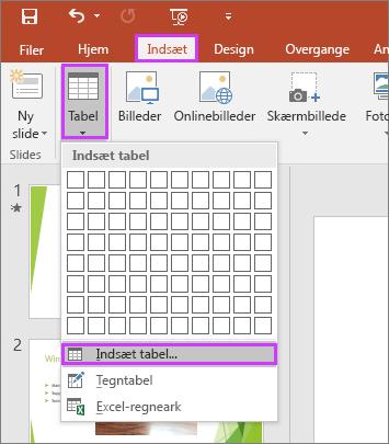 Viser indstillingen Tabel under fanen Indsæt på båndet i PowerPoint