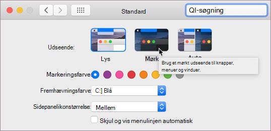 Indstilling for mørk tilstand i macOS