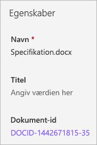 Dokument-ID vist i ruden detaljer