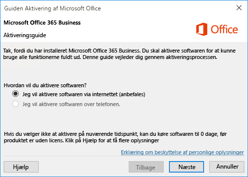 Viser aktiveringsguiden til Office 365 Business