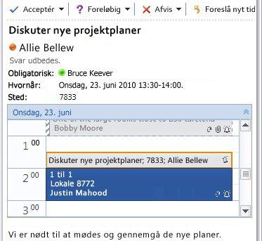Hurtig visning af kalenderen i mødeindkaldelse