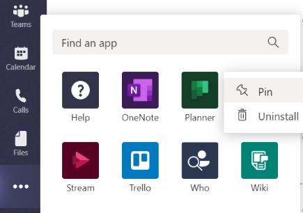 Fastgør en app til venstre for teams