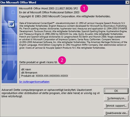 Vinduet Om Microsoft Office Word 2003