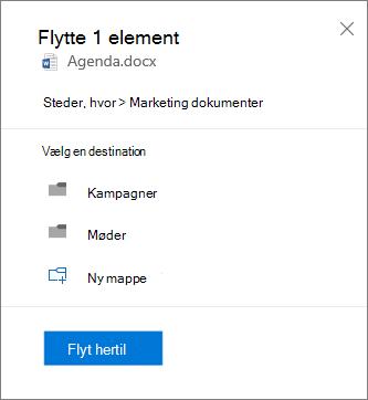 Skærmbillede af at flytte en fil fra OneDrive for Business til et SharePoint-websted