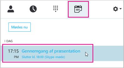 Deltage i et møde via fanen Skype for Business-møde