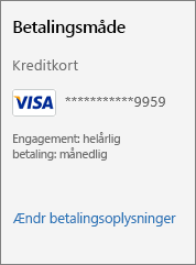 """Skærmbillede, der viser linket """"Rediger betalingsoplysninger""""."""