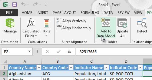 Tilføj nye data til datamodellen