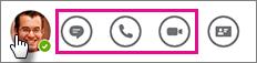 Værktøjslinjen Hurtige handlinger med chat og opkaldsikoner fremhævet