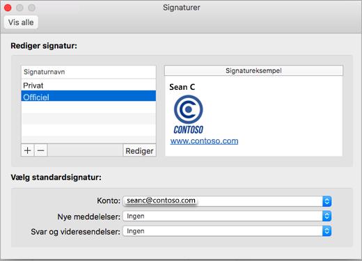 siden Indstillinger for Outlook-signaturer