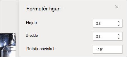 Viser kontrolelementer til figur formatering