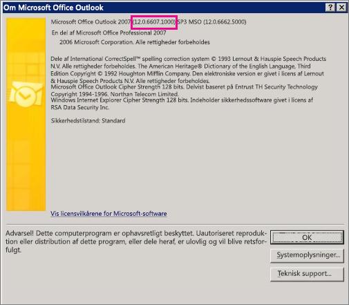 """Skærmbillede, der viser, hvor Outlook 2007-versionsnummeret befinder sig i dialogboksen """"Om Microsoft Office Outlook""""."""