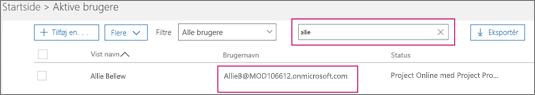 """Skærmbillede viser en sektion på siden med aktive brugere med et søgeord, """"allie"""", der er skrevet i søgefeltet ud for indstillingen med filtre, som er indstillet til alle brugere. Nedenfor er det fulde viste navn og brugernavn vist."""