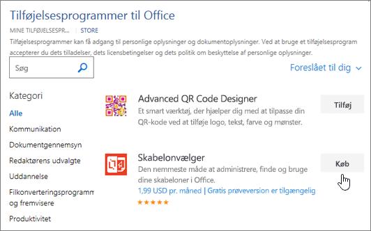 Skærmbillede af siden Office-tilføjelsesprogrammer, hvor du kan vælge eller søge efter et tilføjelsesprogram til Word.