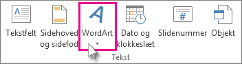 Klik for at tilføje WordArt