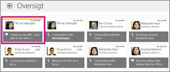 Skærmbillede af oversigtsfeltet, hvor der vises flere chatbeskeder. Den mistede chatsamtale er fremhævet.