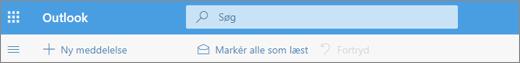 Et skærmbillede viser feltet Søgeforespørgsel i Outlook.com.