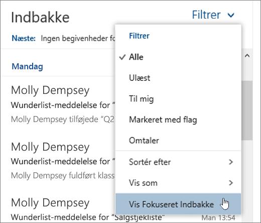 Et skærmbillede af menuen Filter, hvor Vis Fokuseret indbakke er markeret