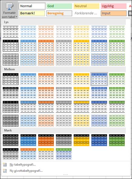 Typografigalleri for Excel-tabel