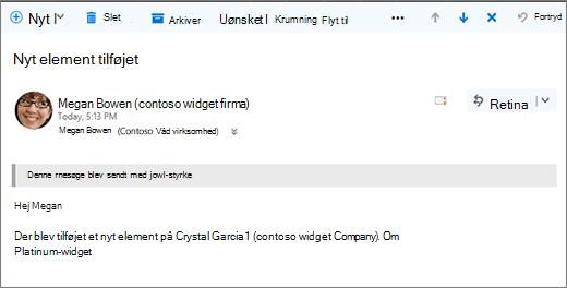 Mails, der sendes af Microsoft Flow, når et element ændres