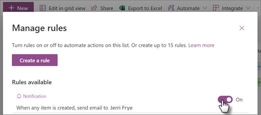 Skærmbillede af, hvordan du slår en regel til eller fra på siden Administrer regler.