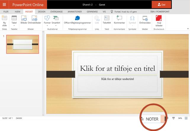 Knappen noter er i den nederste kant i browservinduet, i højre side.