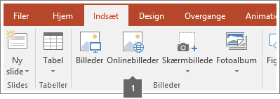 Skærmbillede af hvordan du føjer onlinebilleder til Office-apps.