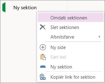 Funktionen Omdøb sektion i OneNote Online.