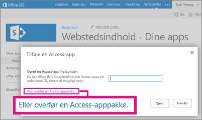 Overførsel af en Access-app-pakke til siden Tilføj en app på et SharePoint-websted