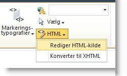 Kommandoen Rediger HTML-kilde