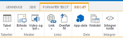 Skærmbillede af fanen Indsæt, som indeholder knapper til at indsætte tabeller, videoer, grafik og links på siderne på webstedet