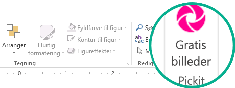 Når du har installeret tilføjelsesprogrammet Pickit Free Image, vises det yderst i højre side på fanen Hjem på båndet.
