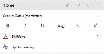Formatér tekstindstillinger i PowerPoint Mobile til Windows telefoner.